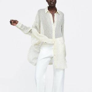 Zara long sheer polka dot blouse